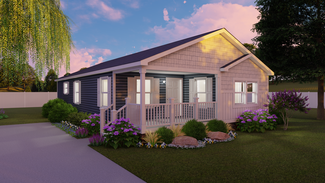 The ADIRONDACK 3628-236 Exterior. This Manufactured Mobile Home features 2 bedrooms and 1 bath.