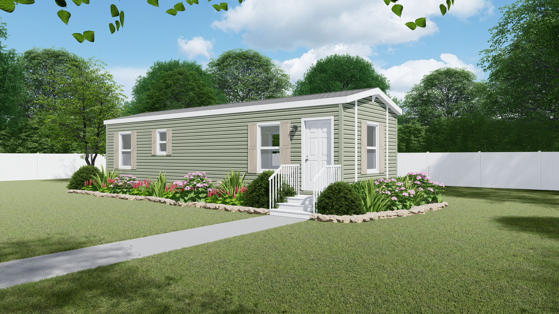 The HICKORY 4414-40 Exterior. This Manufactured Mobile Home features 1 bedroom and 1 bath.