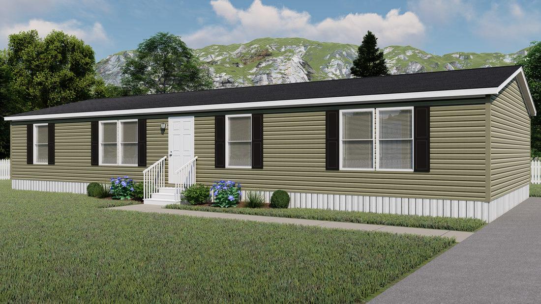 The GARNET Exterior. This Manufactured Mobile Home features 3 bedrooms and 2 baths.